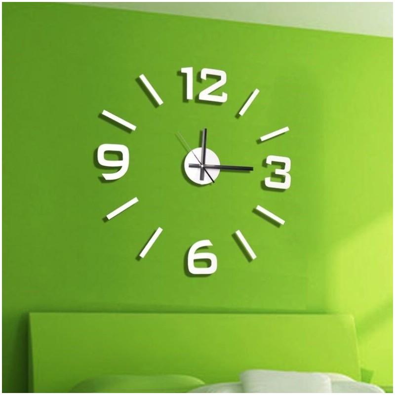 Reloj de pared 3d adhesivos diy blanco 60cm - Adhesivos pared 3d ...