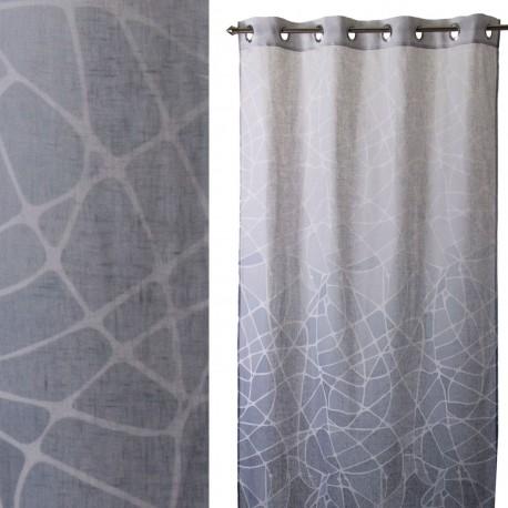 """Cortina anillas para salon """"andrea"""" gris 140 x 260 cm con 8 anillas metálicas. 100% poliéster."""