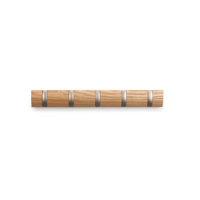 Perchero de pared con ganchos plegable color madera for Ganchos para percheros