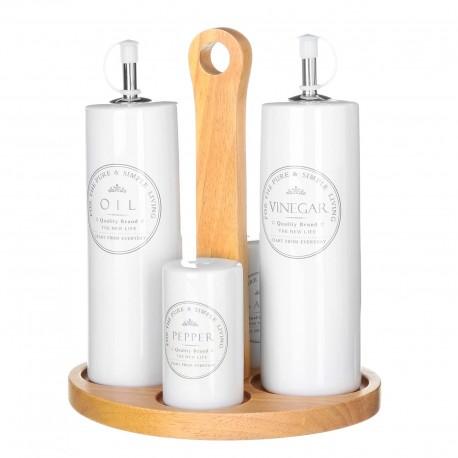 Aceitera vinagrera junto salero y pimentero blanca de cerámica para cocina