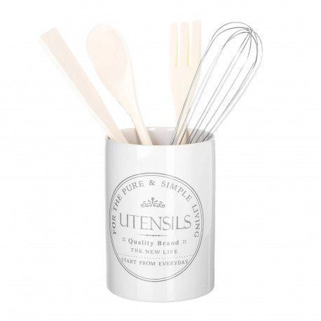 Porta utensilios pure living stoneware incluye: batidor, tenedor , cuchara y espatula. para cocina