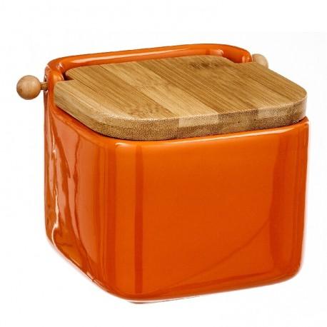 Salero naranja cerámica con tapa de bambú. 12x12x11cm