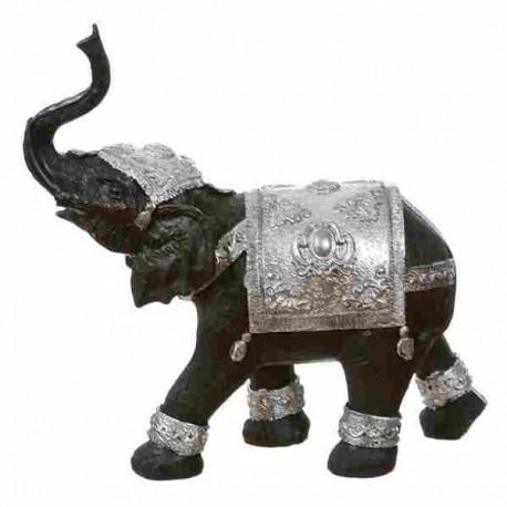 Figura elefante de suerte resina plateado 27 x 8 x 26 cm