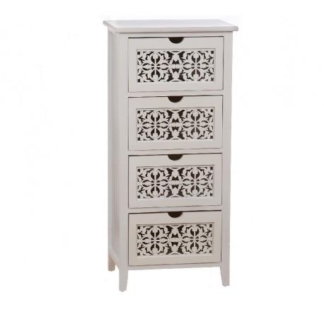 Mueble madera blanco maqueteria 4 cajones Med: 43 x 33 x 86 cm