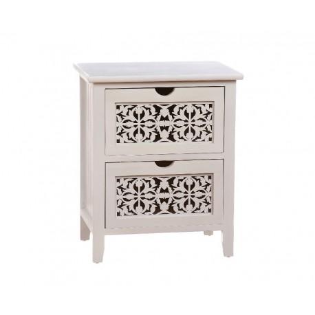 Mueble madera blanco maqueteria 2 cajones Med: 43 x 33 x 45 cm