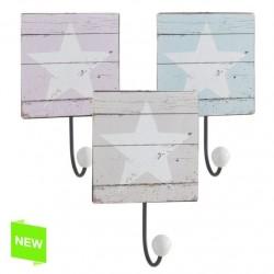 Perchero estrella de color 1 gancho - set 3 pieza