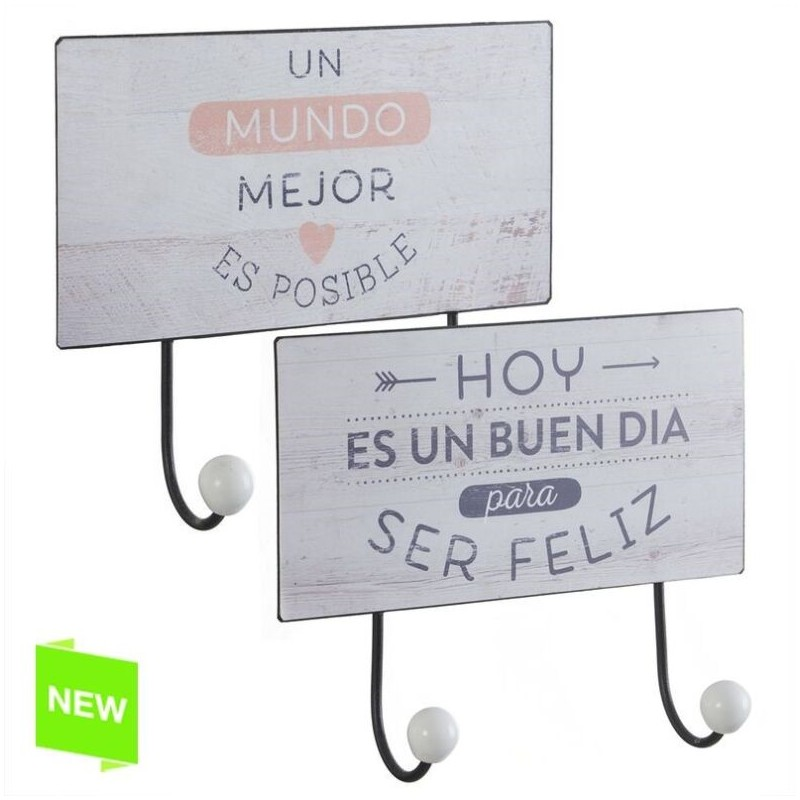 Perchero pared metal original frases de color 2 ganchos - Perchero original pared ...