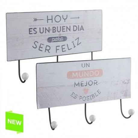 Perchero pared metal original frases de color 3 ganchos