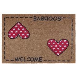 """Felpudo diseño romantico """"two hearts"""" fibra de coco 60 x 40 cm"""