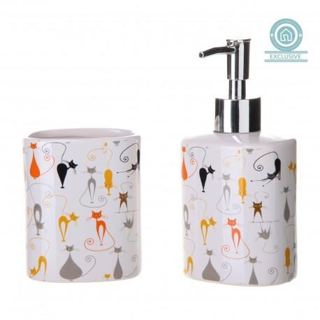 Juego de baño jabonera y vaso diseño moderno original cats