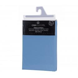 Sábana encimera basica lisa cama 150 azul 270 x 240 cm algodon/poliester.