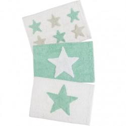 Juego de 3 alfombras multiuso diseño estrellas mint 40x60 cm .