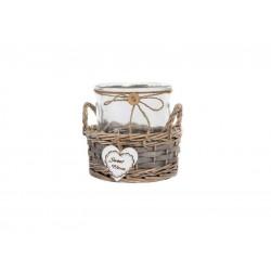 Bote cristal de cocina con cesta de minbre para decoración vintage
