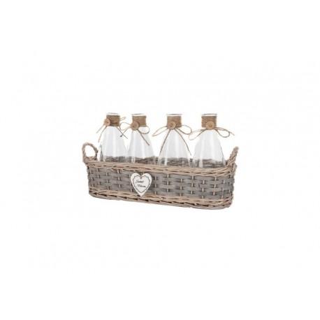 Set 4 Botes cristal de cocina con cesta de minbre para decoración vintage