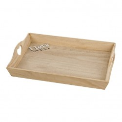 Bandeja madera natural con frase romanticas 42 cm