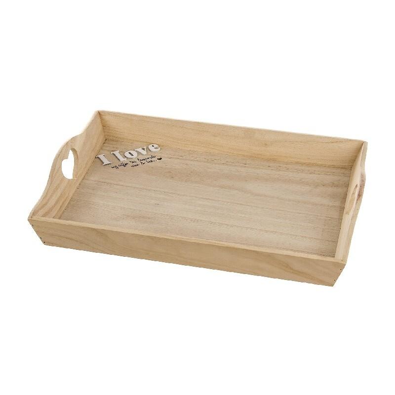 Bandeja madera natural con frase romanticas 42 cm for Bandejas de madera