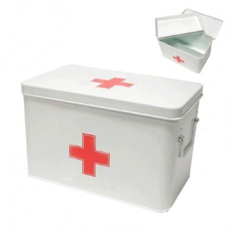 Caja de botiquin metal primeros auxilios compartimento en interior
