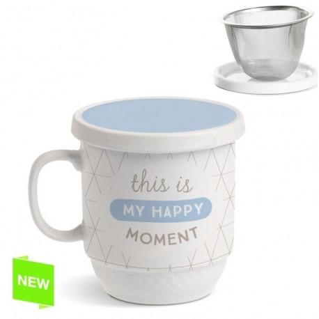 """Taza con filtro original diseño moderna frase ingles """"""""HAPPY MOMENT"""""""""""