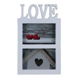 Portafotos doble romántico blanco de plástico love para decoración France