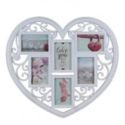Portafotos múltiple romántico blanco de plástico corazon