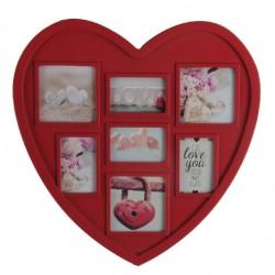 Portafotos múltiple romántico rojo de plástico corazon