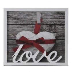 Portafoto individual romántico blanco love