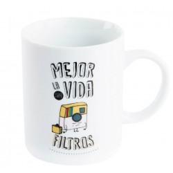 """Taza Mejor la vida sin filtros """" en caja de regalo"""