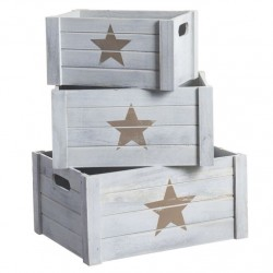 Juego 3 cajas multiusos modernas estrella beige de madera