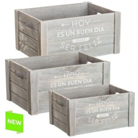 Jueog 3 cajas multiusos original con mensaje feliz de madera