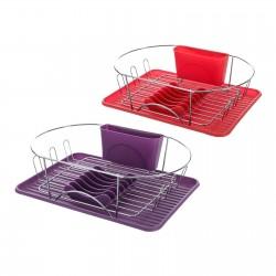 Escurreplatos 2/c hierro cromado 44 x 32 x 13 cm morado y rojo.
