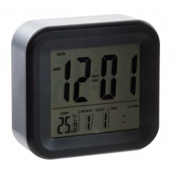 Reloj digital despertador pvc color negro 11,8 x 4,4 x 11,5 cm