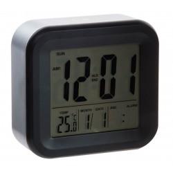 Reloj digital despertador pvc color negro 11,8 x 4,4 x 11,5 cm
