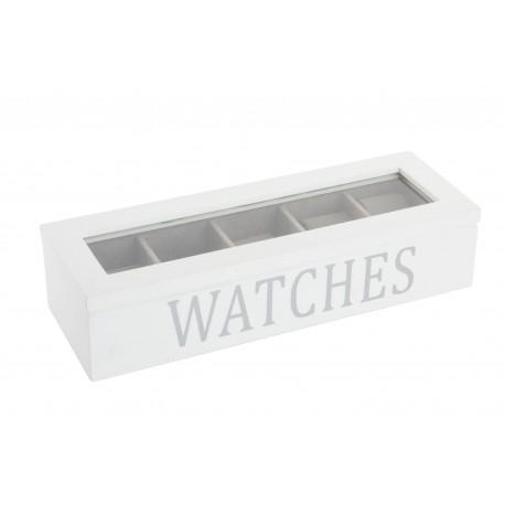Joyero relojeros de madera cristal para 5 relojes blanco lacado