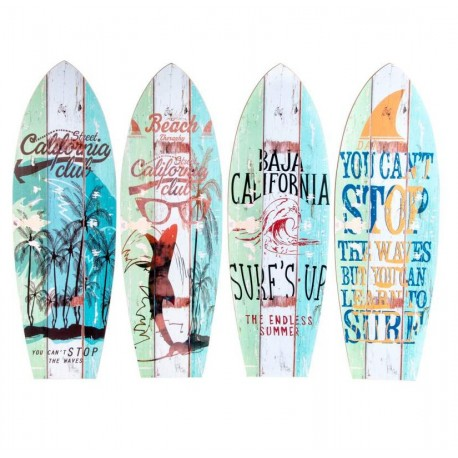 "Decoracion cuadro madera """"SURF"""" 20X60cm ( Set 4 cuadro )"