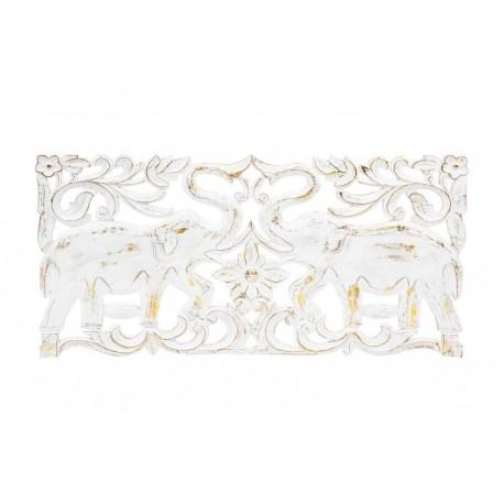 Mural tallado natural lavado blanco de madera para decoración 90x45 cm .
