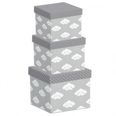 Juego 3 cajas regalo diseño original NUBES