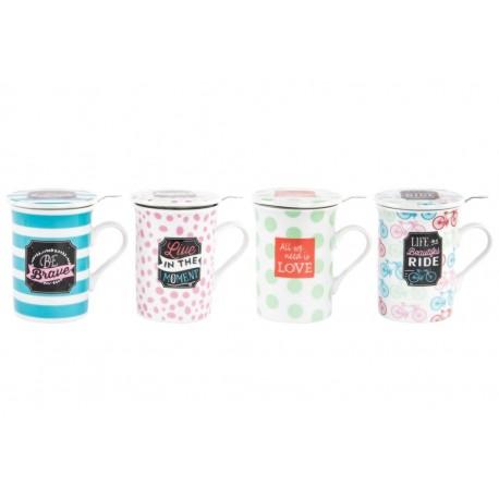 """Tazas de infusiones con frases de color """" Pack de 4 tazas con filtro y tapa """""""