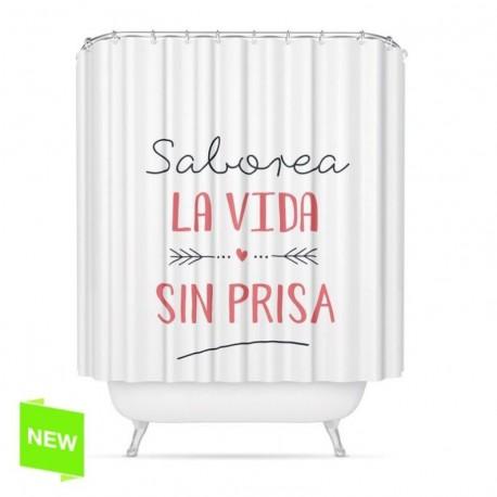 """Cortina de baño original diseño frase """"SABOREA"""" peva 180 x 200cm"""