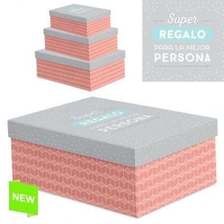 """Juego 3 cajas regalo diseño frase """"SUPER REGALO"""""""
