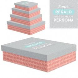 """Juego 4 cajas regalo diseño frase """"SUPER REGALO"""""""