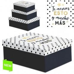 """Juego 3 cajas regalo diseño frase """"TE MERECES"""""""