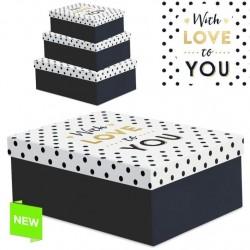 """Juego 3 cajas regalo diseño frase romanticas """"WITH LOVE"""""""