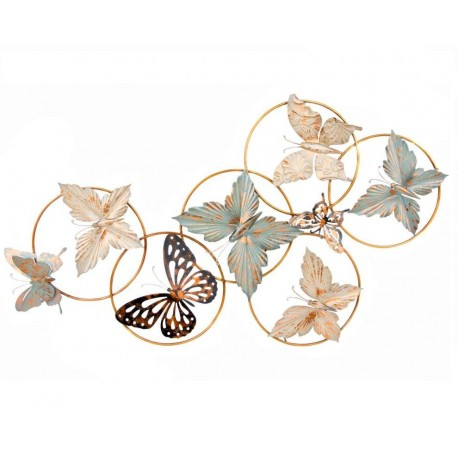 Mural pared metal oriental mariposa para decoracion 107x60 for Adornos pared metal