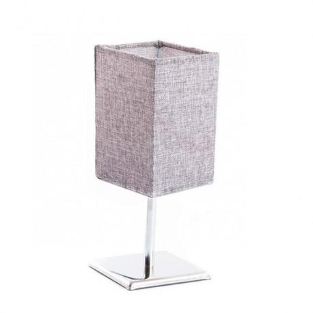 Lámpara de mesita inox lino gris 10x10x26 cm