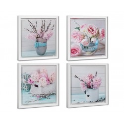 Pack 4 cuadro de flores romántico lila de lienzo con marco para dormitorio de 30x30