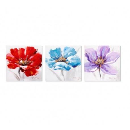 Pack 3 cuadro de flores pintado de lienzo para dormitorio de 30x30