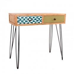 Consola madera metal 80x40x77cm natural