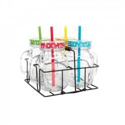 Set 4 jarras con pajita soporte metal moderno