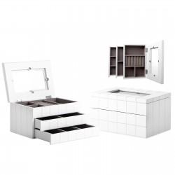 Joyero 2 cajones blanco mdf / cristal 24 x 16,50 x 13,80 cm