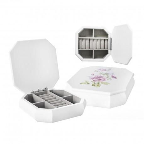 Joyero octagonal blanco mdf 18 x 18 x 5 cm detalle floral en la tapa